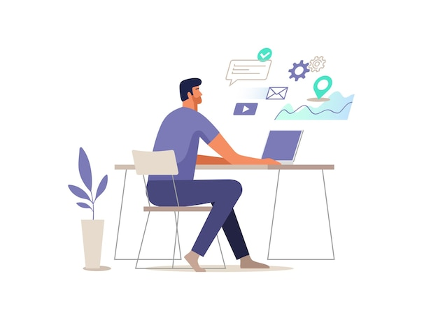 O homem trabalha no computador. ilustração.