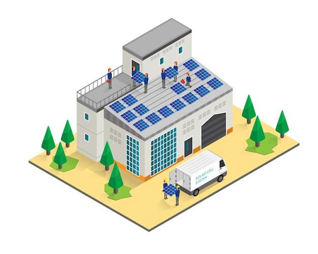 O homem trabalhando na instalação da célula solar no telhado