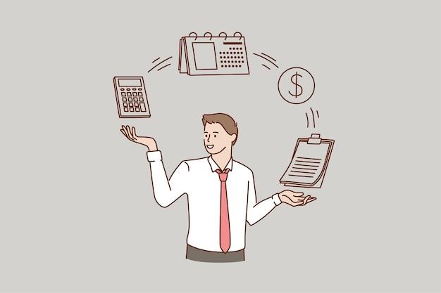 O homem usa a calculadora e gerencia o orçamento ou as despesas da empresa