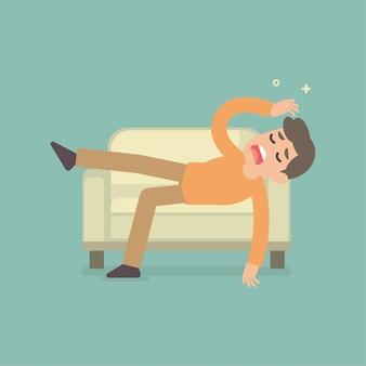 O humor sonolento cansado triste do homem infeliz que descansa no conceito do sofá, vector a ilustração lisa.