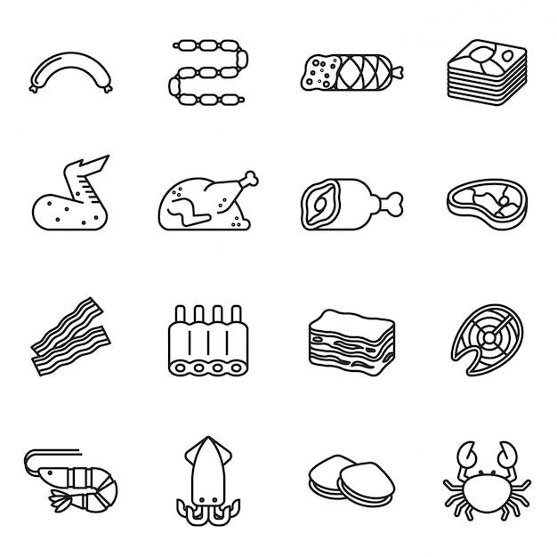 O ícone da carne & do marisco ajustou-se com fundo branco. vetor de estoque de estilo de linha fina.