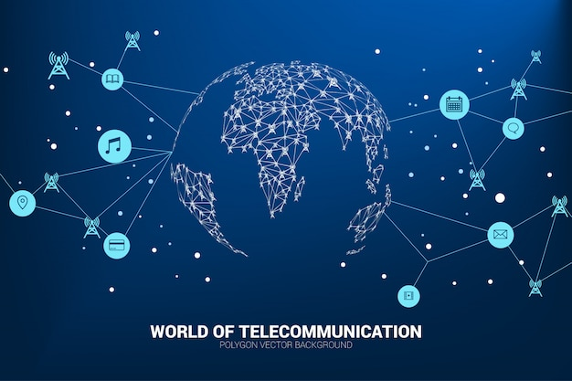 O ícone da torre de antena do polígono do vetor conecta a linha à forma do mapa do mundo.