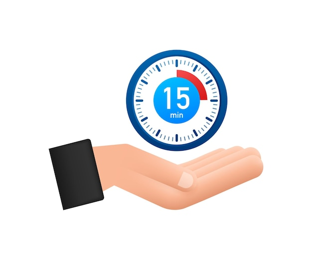 O ícone de mão de vetor de cronômetro de 15 minutos ícone de cronômetro em estilo simples