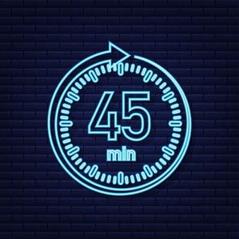 O ícone de néon de vetor de cronômetro de 45 minutos ícone de cronômetro em estilo simples