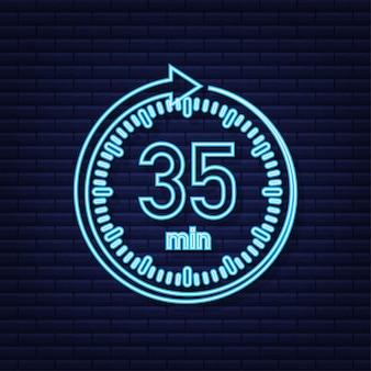 O ícone de néon do vetor de cronômetro de 35 minutos ícone do cronômetro