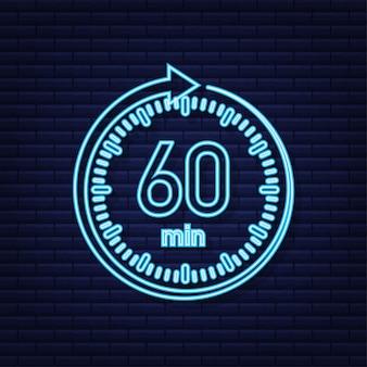 O ícone de néon do vetor de cronômetro de 60 minutos ícone do cronômetro em estilo simples