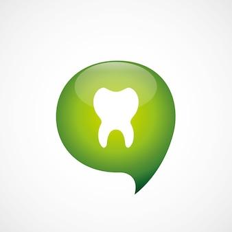 O ícone do dente verde pensa o logotipo do símbolo da bolha, isolado no fundo branco