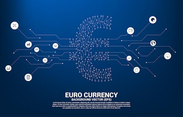 O ícone do dinheiro da moeda do euro do vetor do ponto do estilo da placa de circuito conecta a linha. conceito para economia digital e conexão de rede financeira.