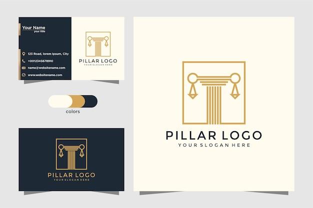 O ícone do logotipo de pilares projeta inspiração. design de logotipo e cartão de visita
