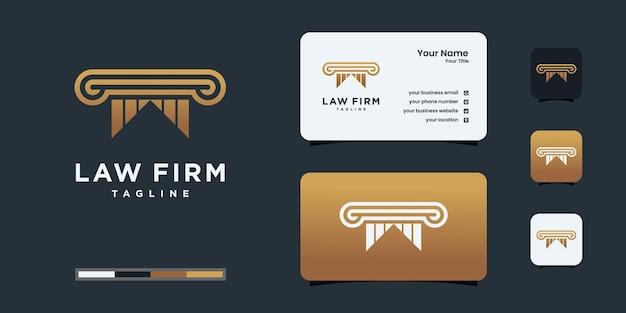 O ícone do logotipo de pilares projeta inspiração. design de logotipo e design de cartão de visita