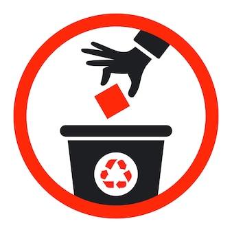 O ícone preto joga lixo na lata de lixo. ilustração vetorial plana.