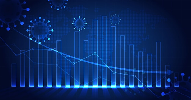O impacto do coronavírus na bolsa de valores e na economia global ações e gráfico caem
