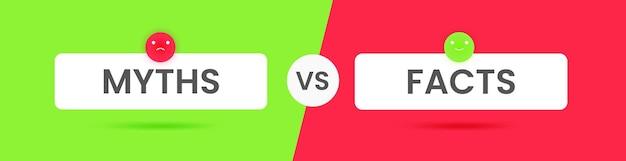 O infográfico com mitos ou fatos para o design de conceito. ícones de marca de seleção. ilustração em vetor plana.