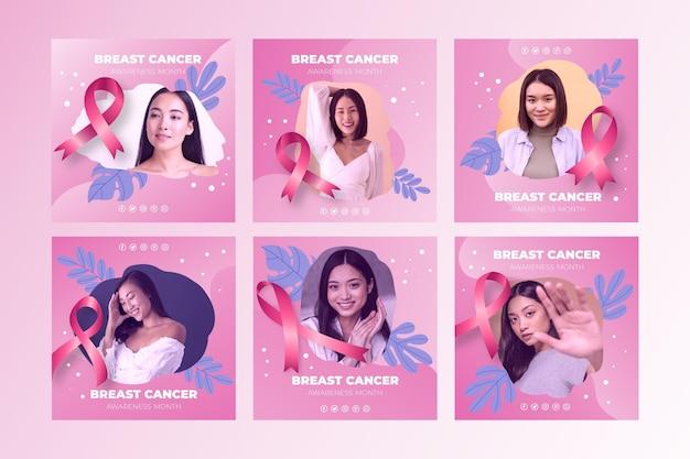O instagram do mês de conscientização do câncer de mama com gradiente de coleção de postagens com foto