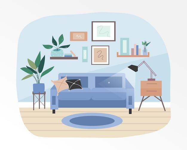 O interior aconchegante e aconchegante da sala de estar. completado com plantas decorativas e pequenos móveis.
