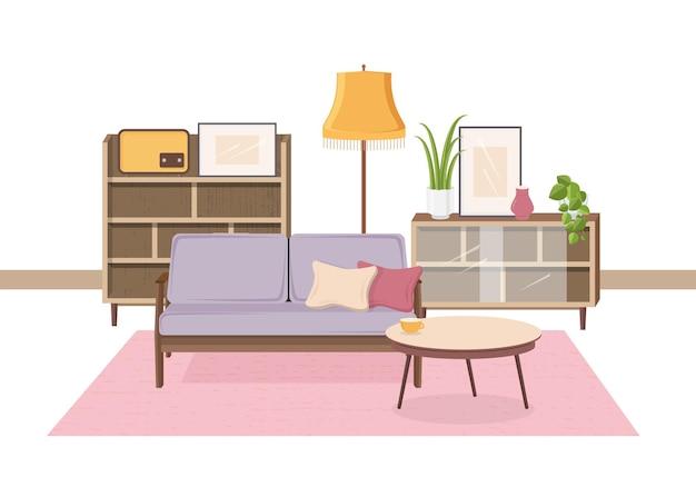 O interior confortável da sala de estar está cheio de móveis soviéticos e decorações retrô