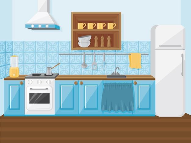 O interior da cozinha azul em estilo retro. ilustração dos desenhos animados.