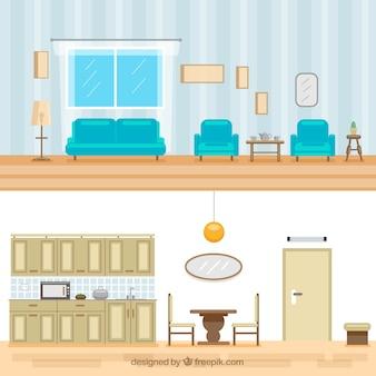 O interior da cozinha e sala de estar no design plano