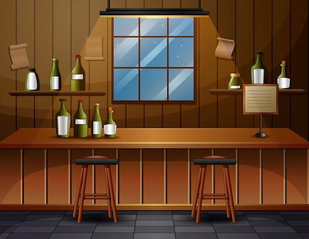 O interior da ilustração do café bar