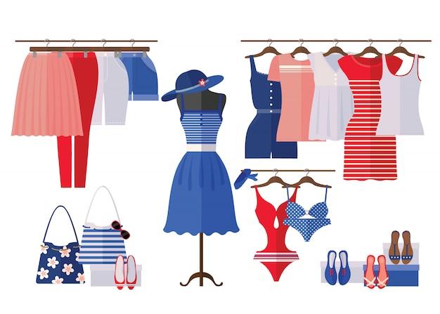 O interior da loja de roupa das mulheres com verão veste-se no estilo liso isolado no branco.