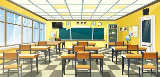 O interior de uma sala de aula escolar vazia com um quadro-negro na parede amarela e carteiras no chão quadriculado