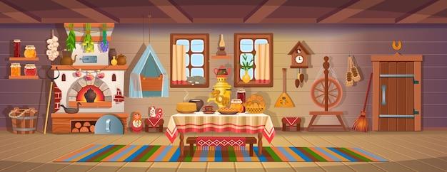 O interior de uma velha cabana russa