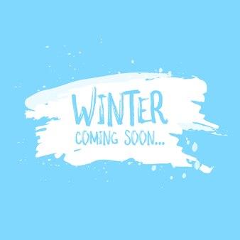 O inverno está chegando em breve, cartão, letras, celebração, cartaz, palavras. ilustração vetorial