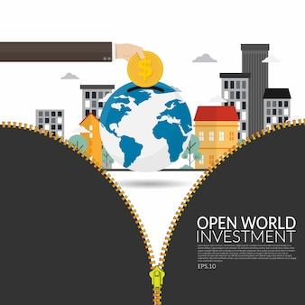 O investimento de empresas multinacionais no mundo em desenvolvimento abre novos horizontes para o desenvolvimento econômico e para o conceito de estratégia da empresa. mão de homem de negócios salvando a moeda de ouro sobre o globo
