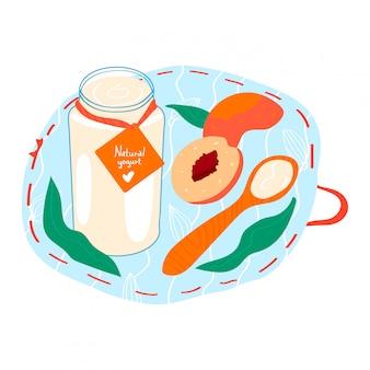 O iogurte feito a mão natural com pêssego, fruto fresco do frasco de vidro coalhou o leite isolado no branco, ilustração dos desenhos animados. produto de suporte de cozinha com colher de pau.