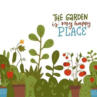 O jardim é o meu lugar feliz, citação de jardinagem escrita à mão com brotos de vegetais e arbusto de tomate