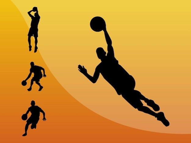 O jogador de basquete silhuetas
