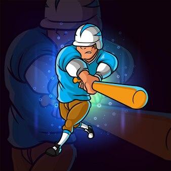 O jogador de beisebol como batedor para o design do logotipo esport da ilustração
