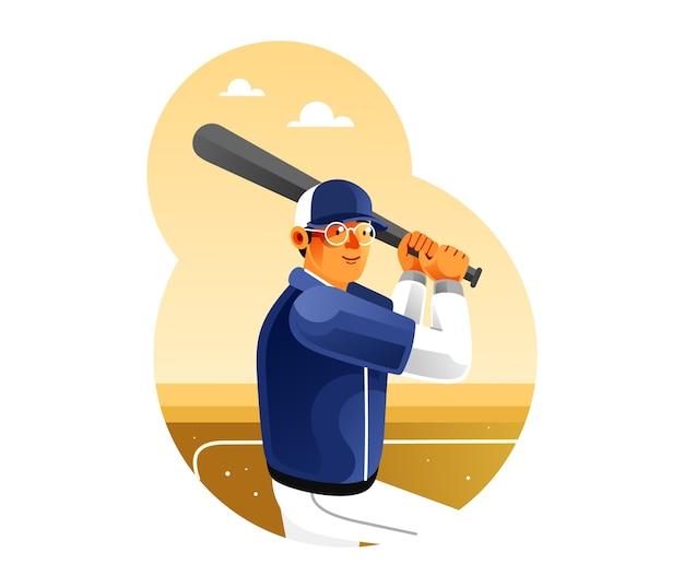 O jogador de beisebol está se preparando para acertar a bola