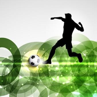 O jogador de futebol em um fundo abstrato