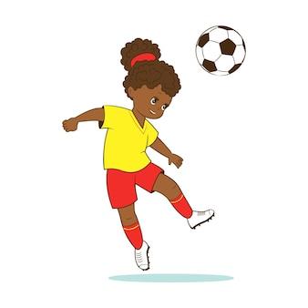 O jogador de futebol feminino bate a bola de futebol com a cabeça. vetor em estilo cartoon, apartamento em quadrinhos