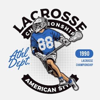 O jogador de lacrosse correndo