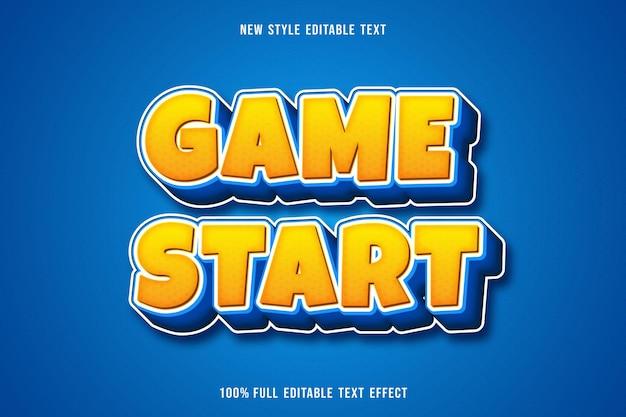O jogo com efeito de texto editável começa a cor amarelo e azul