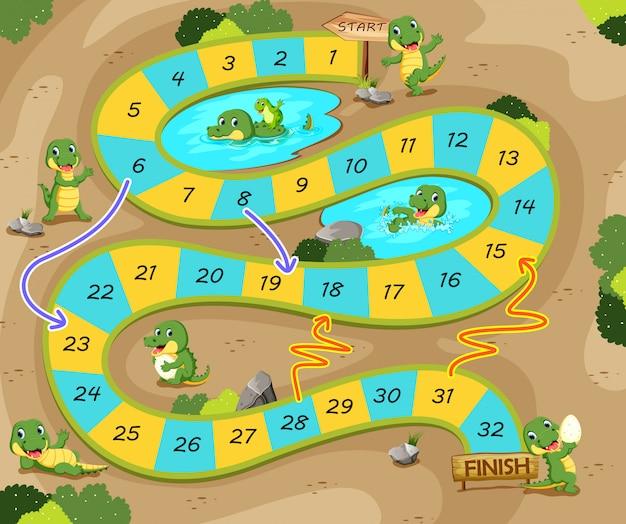 O jogo de cobras e escadas com o tema crocodilo