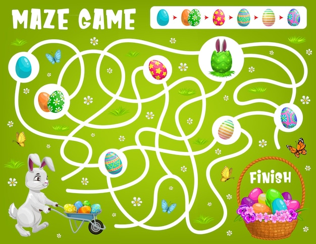 O jogo de labirinto infantil ajuda o coelho da páscoa a escolher o caminho certo para conseguir os ovos