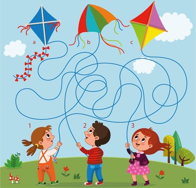 O jogo de labirinto para crianças contém um menino, duas meninas e pipas na paisagem.