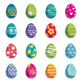 O jogo de ovos da páscoa isolou o fundo.