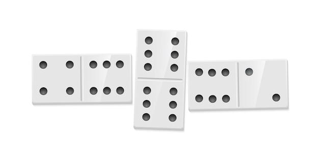 O jogo domino combina peças retangulares de ilustração realística com combinação de pontos Vetor Premium