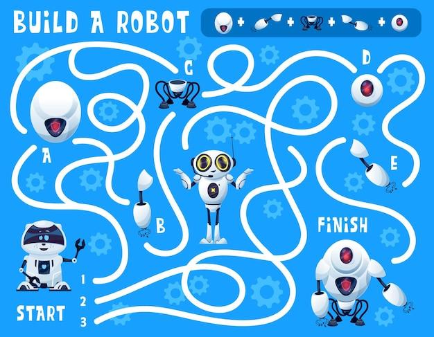 O jogo infantil constrói um labirinto de robôs com robôs de inteligência artificial de desenhos animados e peças sobressalentes. quebra-cabeça de educação vetorial, jogo de encontrar o caminho certo ou enigma no fundo com engrenagens e andróides