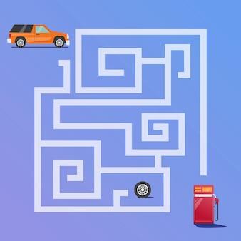 O jogo maze encontra o caminho do carro para o vetor premium do posto de gasolina para a educação e coleta de crianças