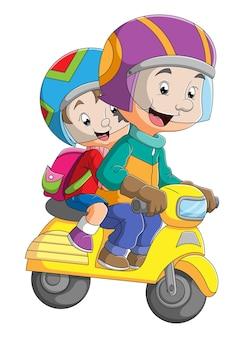 O jovem está andando de moto com o filho da ilustração
