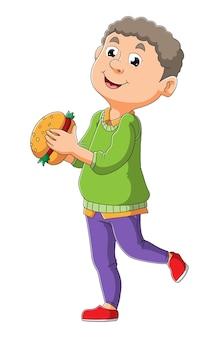 O jovem está pronto para comer o hambúrguer da ilustração