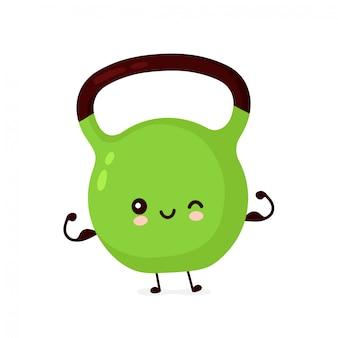 O kettlebell feliz de sorriso bonito da aptidão mostra o músculo. personagem de banda desenhada plana ilustração ícone do design. isolado no fundo branco. peso de kettlebell fitness, esporte, conceito de personagem de mascote de ginásio