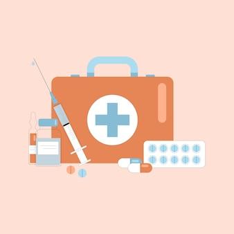 O kit de primeiros socorros fornece produtos médicos de emergência. ilustração de cuidados saudáveis