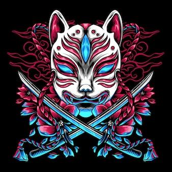 O kitsune japão e espadas
