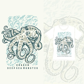 O kraken deep sea monster design de camiseta vintage